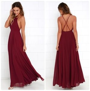 Lulus Mythical Kind of Love Red Wine Maxi Dress, S